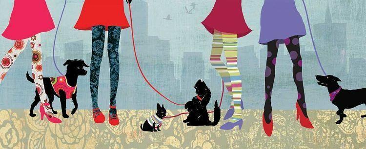Allison Pearce  Quality Time II Keilrahmen-Bild Leinwand Hunde Frau Mode Fashion