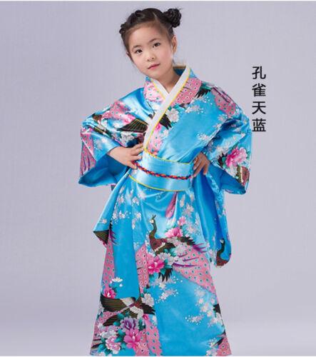 Kids/' Yukata obi Vintage traditional Japanese gril/'s Kimono Yukata Haori Dress**
