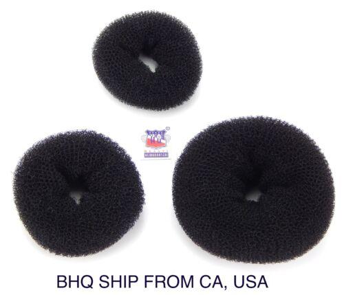 BLACK WOMEN HAIR BUN RING DONUT SHAPER 3 SIZE IN PACKAGE.