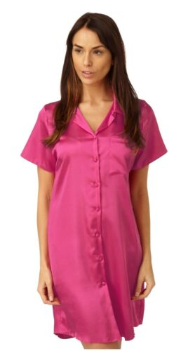 Ladies Satin Nightshirt Nightdress Short Sleeve Slip Button Up PLUS SIZE 10-32!