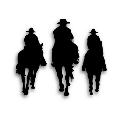 Horse Family Decal Father 2 Sons For Tack Box Ranch Truck Trailer BLACK