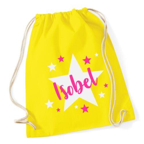 Girls Personalised Stars Name Gymsac School Swimming PE Bag Printed Customised