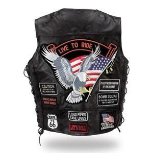 watch 024fb c53b9 Details zu Leder Weste Jacket Eagle Live zu Ride für Biker Land Neu Big  Größe: S ~7XL