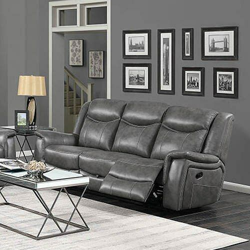 Excellent Grey Faux Leather Power Reclining Sofa Living Room Furniture Gmtry Best Dining Table And Chair Ideas Images Gmtryco