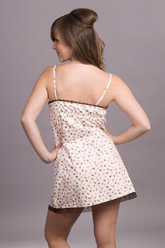 100/% Printed Cotton Lace Chemise PJ Nightie S,M,L,XL