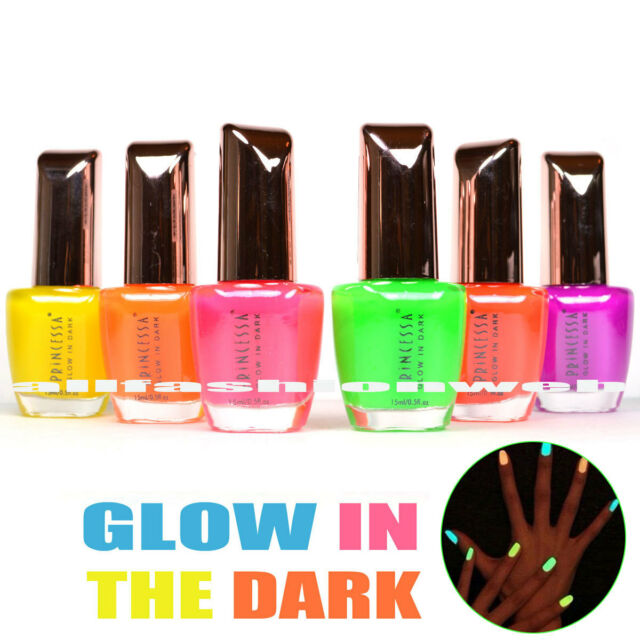 """PRINCESSA """"GLOW IN THE DARK #01"""" NAIL POLISH COLLECTION! LOT OF 6 LACQUER"""