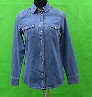 Boden Ladies Women's semi fitted Blue PETITE Denim Shirt Top Long Sleeved