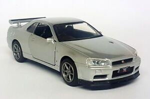Tayumo-1-36-Scale-Nissan-Skyline-GT-R-R34-V-Spec-II-Silver-Diecast-Model-Car
