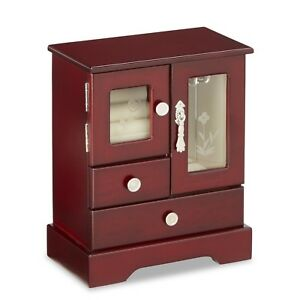 09bb72ea0 Image is loading Cherry-Wood-Jewelry-Box-Cabinet-Chest-Necklace-Armoire-