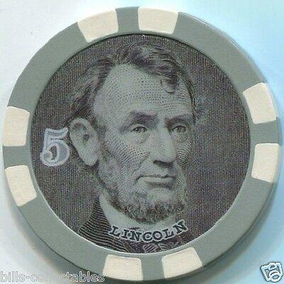11.5 gm $5 President Lincoln Money poker chip sample Great for Bounty Grey