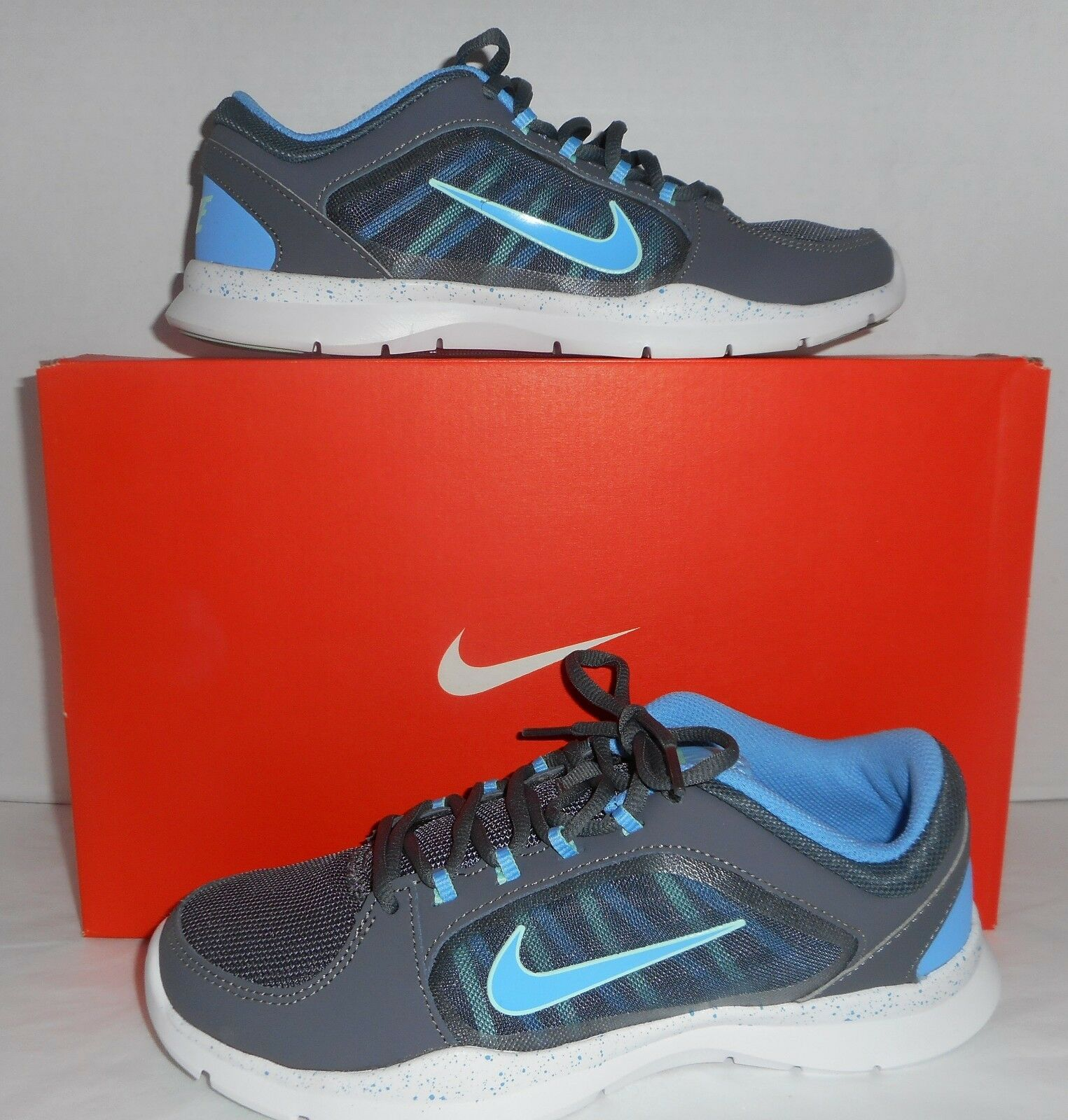 NIB Nike Womens' Flex Trainer 4 Running Shoe Gray/Unsty Blue Sizes 7,  7.5, 8.5