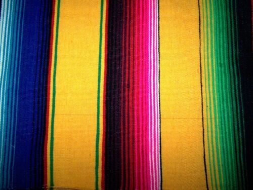 Extra Large New Yellow Genuine Mexican Sarape Hot Rod Blanket Rug Picnic