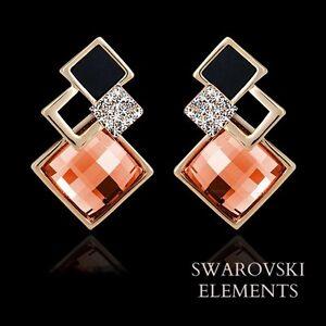 Boucle-d-039-oreilles-carres-multiples-Swarovski-Element-dore-noir-corail