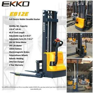 EKKO EB12E Straddle Stacker - Save on Tailgate Deliveries, Ideal for small warehouses, 3 year LTD Warranty Canada Preview