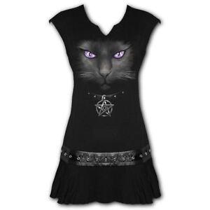 Spiral-Direct-Black-Cat-Pentagram-Studded-Hip-Eyelet-Fitted-Dress-Top