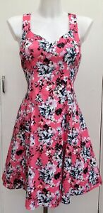Coast-Pink-039-Fit-N-Flare-039-Floral-Skater-Summer-Wedding-Occasion-Dress-Fits-10-12