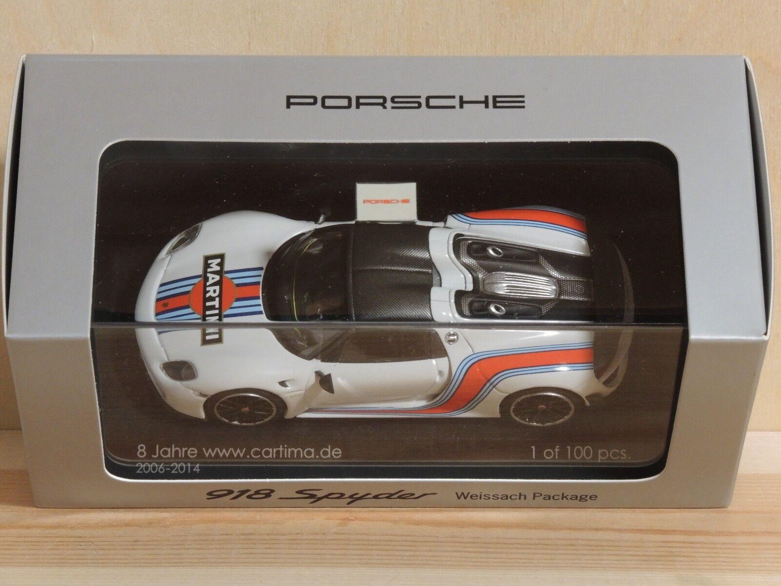 Minichamps Cartima - Porsche 918 Spyder Weissach Pack. Limited 1 of 100 pcs 1 43