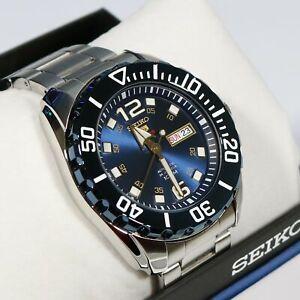 Seiko-5-Sports-Blue-Dial-Stainless-Steel-Men-039-s-Watch-SRPB37K1