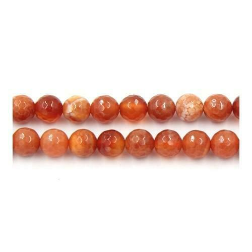 Pcs Gemstones DIY Jewellery Making Fire Agate Faceted Round Beads 10mm Red 35