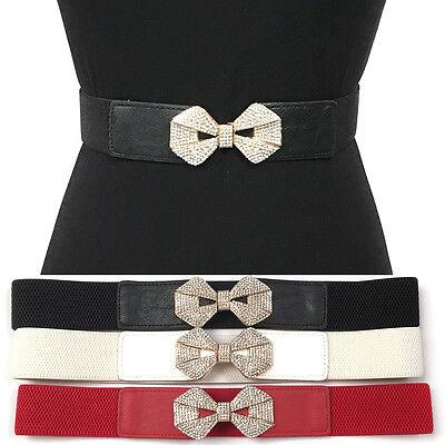 Bling Women Elastic Waist Thin Belt Stretch Gold Metal RHINESTONES Bowkont Hook