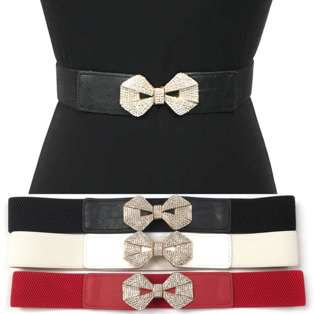 Bling Women Elastic Waist Thin Belt Stretch Gold Metal RHINESTONES Bowkont Hook