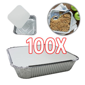 100X-9-034-x9-034-x2-034-LARGE-ALUMINIUM-FOIL-FOOD-CONTAINERS-With-LIDS-DCUK