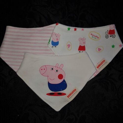 SET OF 3 BIBS UNISEX INCLUDES  PEPPA PIG FIRE ENGINES OR TRACTOR BIRTHDAY GIFTS