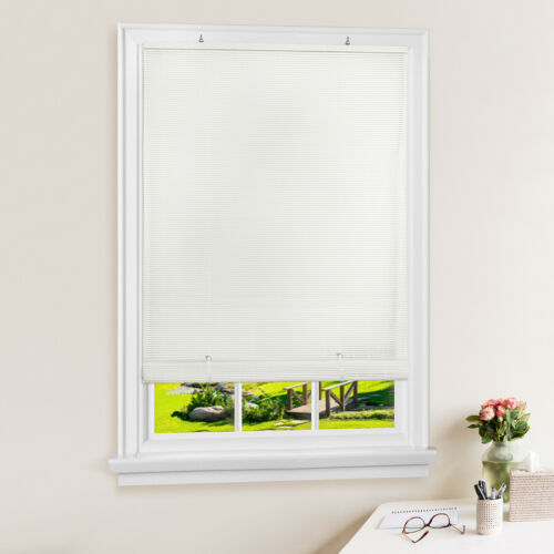 White Oval Cordless Rollup Light Filtering Window Blinds Shades