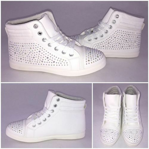 Coole Sneakers mit ALL OVER STRASS white