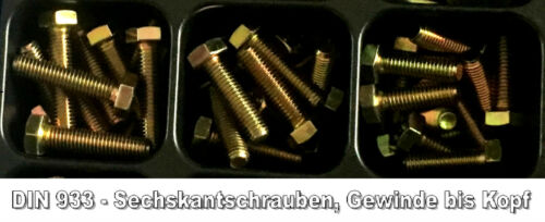 10 x Sechskantschraube DIN 933  M5 x 10 gelb verzinkt 8.8