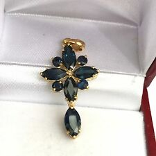 14k Solid Yellow Gold Cute Cross Pendant, Natural Sapphire 3TCW