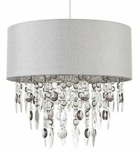 Easy to Fit Drum Shade Chandelier Grey