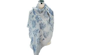 SAIL BOATS WHITE BEIGE MINT GREY SCARF QUIRKY GIFT WRAP BEACH