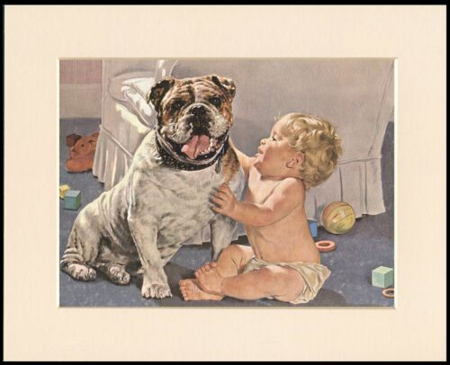 BRITISH BULLDOG AND BABY CHARMING DOG PRINT MOUNTED READY TO FRAME