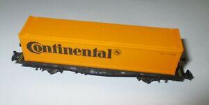 Fleischmann-97-8238-Wagon-Transport-de-Conteneurs-034-Continental-2achs-Orange-Kk