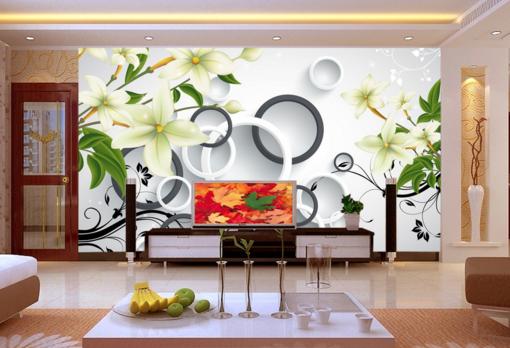 3D Lily Round Circle 7 Wall Paper Murals Wall Print Wall Wallpaper Mural AU Kyra
