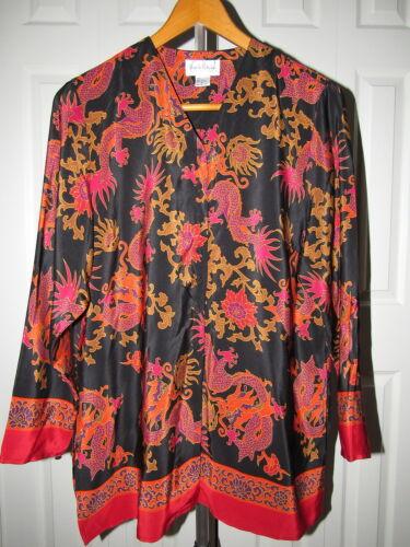 Vtg Diane von Furstenberg Asian Dragon Print Silk