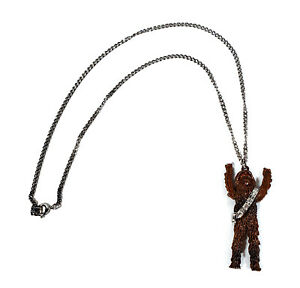 VINTAGE-1977-STAR-WARS-CHEWBACCA-PENDANT-SILVER-TONE-CHAIN-NECKLACE-MOVING-ARMS