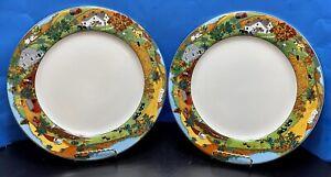 """Fitz & Floyd Omnibus Habitat Americana Homestead Dinner Plates 10 1/2"""" Set Of 2"""