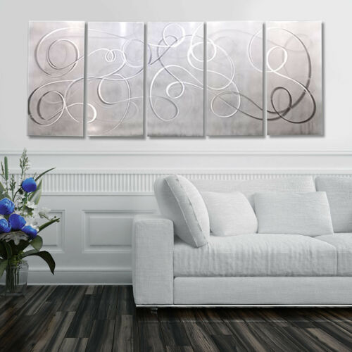 Statements2000 Abstract 3D Metal Wall Art Jon Allen White Silver Silent Echoes