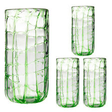 4 Impulse Abstract Hand Crafted Blown Green Highball Glasses 18oz Bulk Set Lot