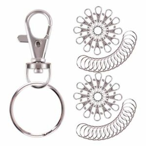 Key-Chain-Keychain-Keyring-Ring-With-Clasp-Stainless-55-Pcs-Set-Bulk-Pack-New