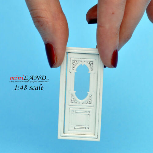 "1:48 1//4/"" quarter scale door quality white with Plexiglass dollhouse miniature"