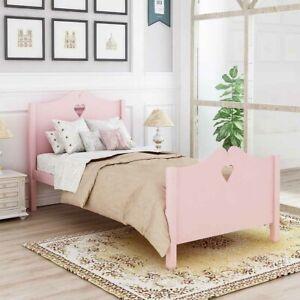 Princess Twin size Wood Bed Platform Bed Frame W//Headbord Footboard  Girl Pink