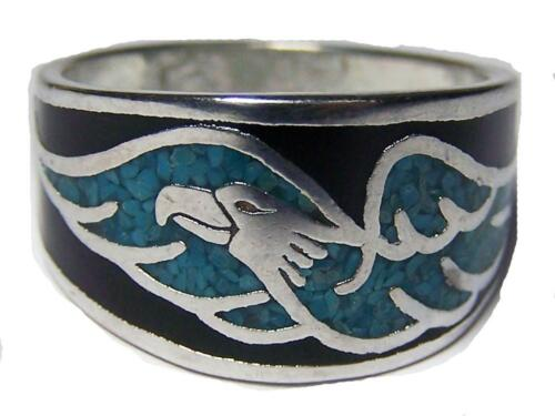 FLYING EAGLE TURQUOISE BAND RING size 8 #11R  biker MEN women eagles  jewelry