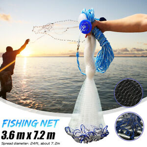 3.6m 12FT Colorful Throw Hand Cast Fishing Net Spin Network Bait Fish Net+Sinker