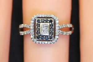 Vintage-Estate-10K-Gold-2-3-Ct-Princess-Diamond-amp-Sapphire-Cluster-Ring-s5-5