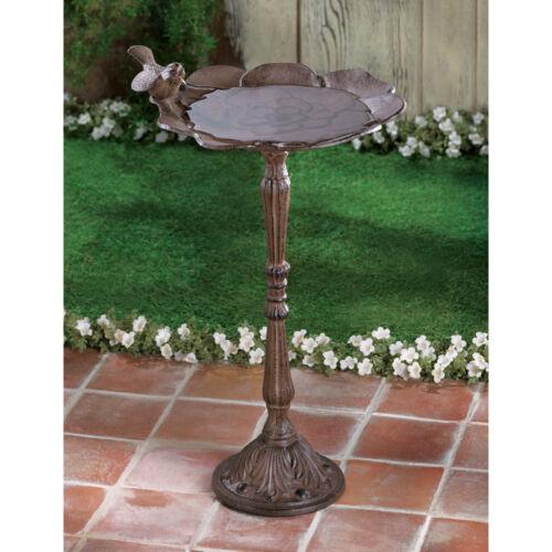 shabby pedestal metal CAST IRON metal Bird Bath feeder outdoor vintage Garden