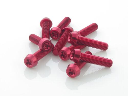 Aluschrauben rot 10 Stück Aluminium Schrauben 7075er M6x25 mit T25 Torx