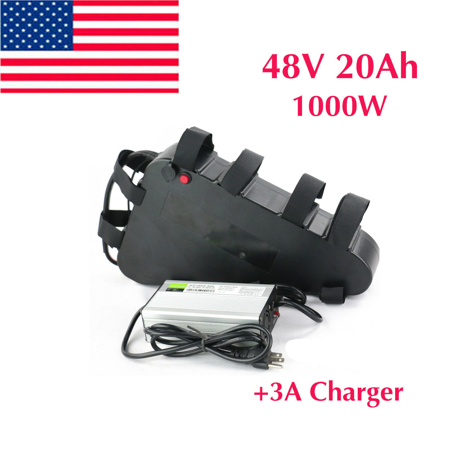 48V 20Ah Li-oin Lithium Triangle Battery 1000W for Electric Bike +3A Charger